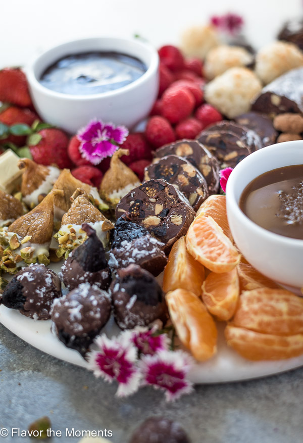 close up of chocolate nut roll and chocolate charcuterie board