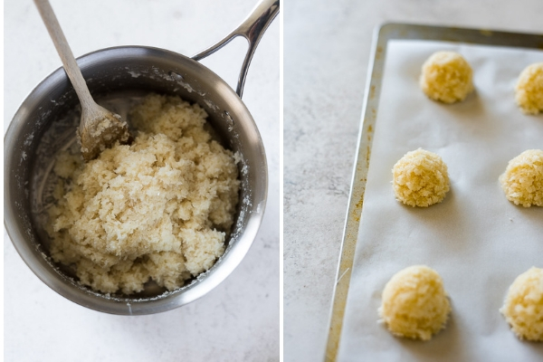chocolate dipped coconut macaroons process collage -- dough and before baking
