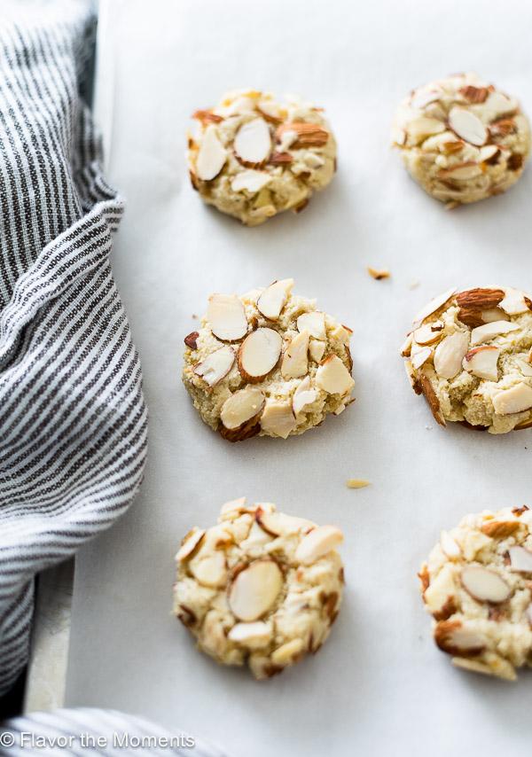 Cookies on baking sheet side angle shot
