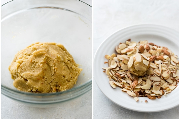 greek almond cookie process collage -- dough and dough ball in sliced almonds