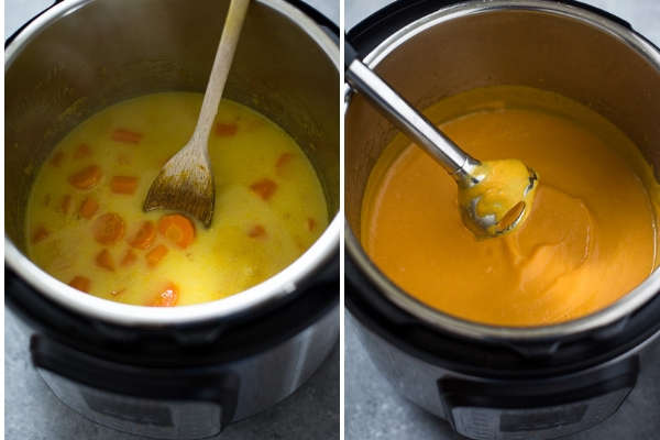 carrot ginger soup before and after cooking in instant pot