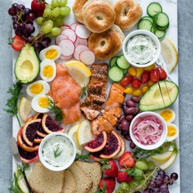 smoked salmon breakfast platter -- overhead