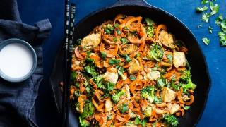 Cumin Healthy Chicken Stir Fry with Carrot Noodles
