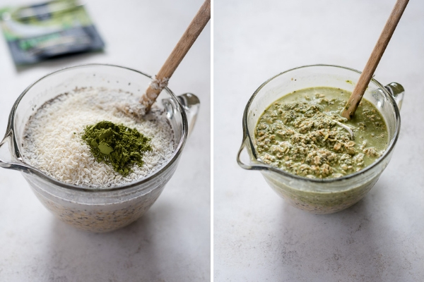matcha overnight oats collage