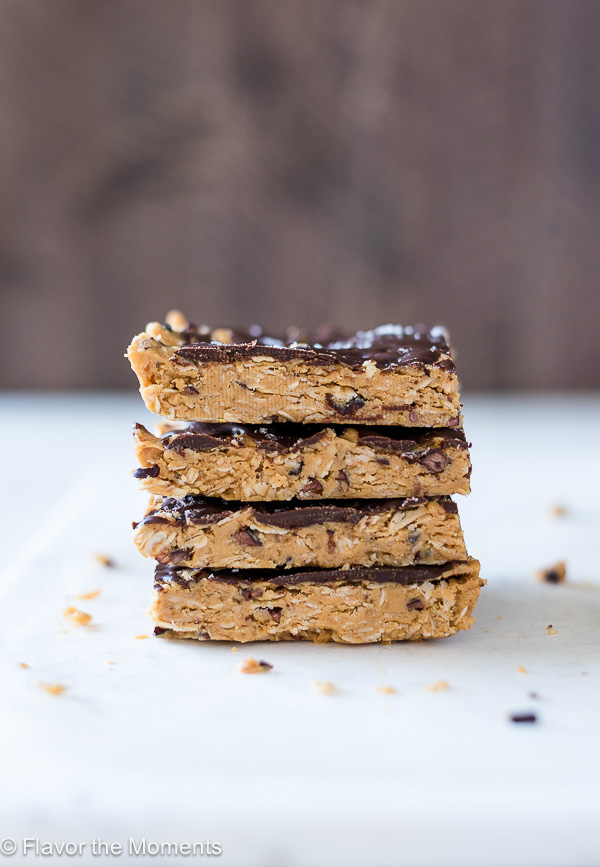 close up front view of no bake peanut butter oatmeal bars stacked up