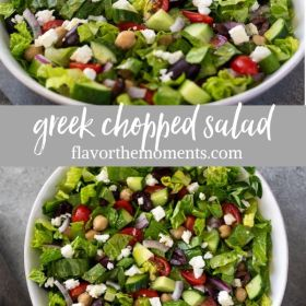 Greek chopped salad collage