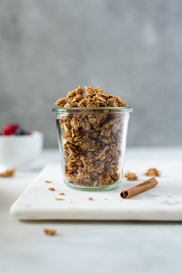 almond butter granola in jar