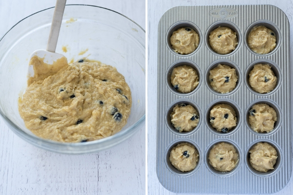almond flour blueberry banana muffins process collage