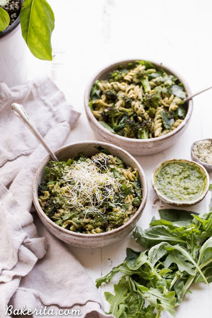 Arugula Pesto Pasta Bowl with Broccoli (Gluten Free + Vegan) • Bakerita