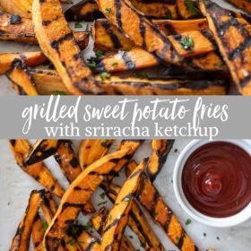 grilled sweet potato fries collage