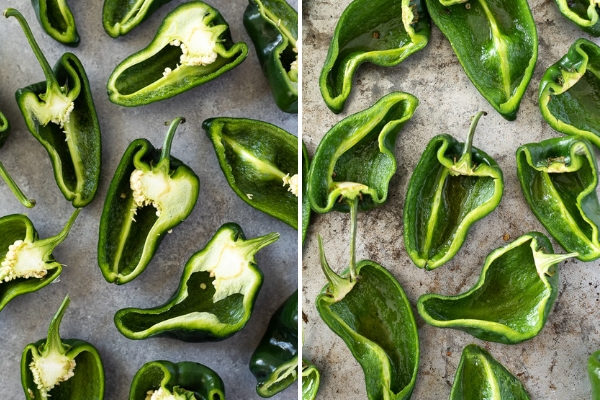 poblano peppers prep collage