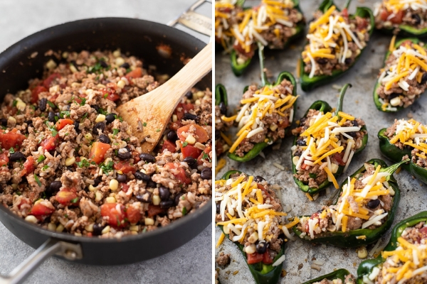 southwest turkey filling and stuffed poblano peppers prep