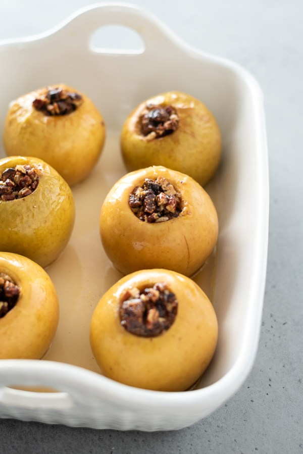 baked apples in a baking dish