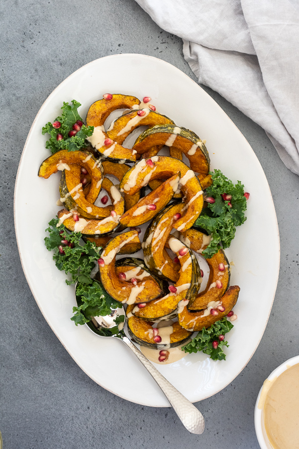Roasted Kabocha Squash with Tahini Dressing