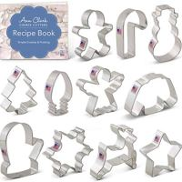 Ann Clark Cookie Cutters 11-Piece Christmas Cookie Cutter Set with Recipe Booklet, Snowflake, Christmas Tree, Candy Cane, Reindeer and More
