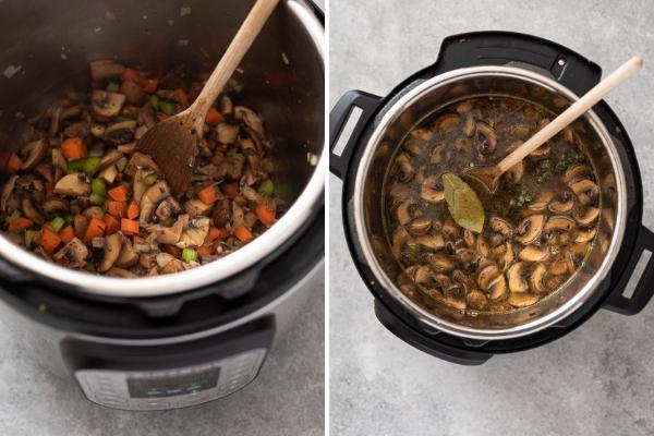 mushroom barley soup process collage