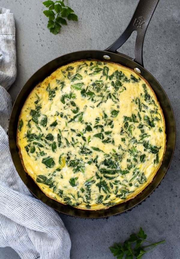 overhead shot of spinach and feta frittata fresh from the oven