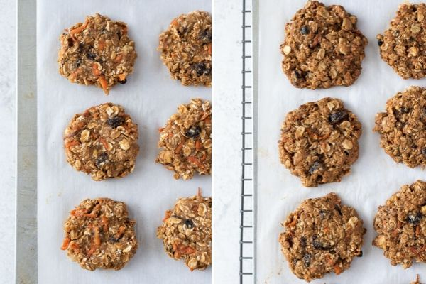carrot oatmeal cookies before and after baking