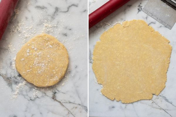 pie dough before and after rolling