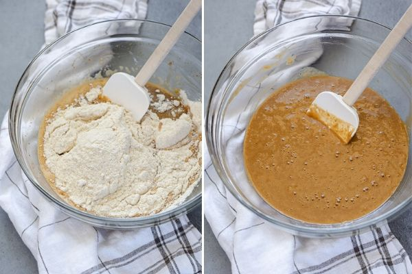 rhubarb cake batter collage before and after mixing in the dry ingredients