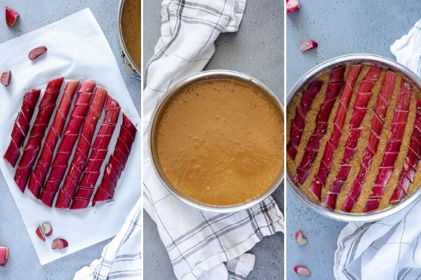 collage of trimmed rhubarb, cake batter in pan and cake before baking