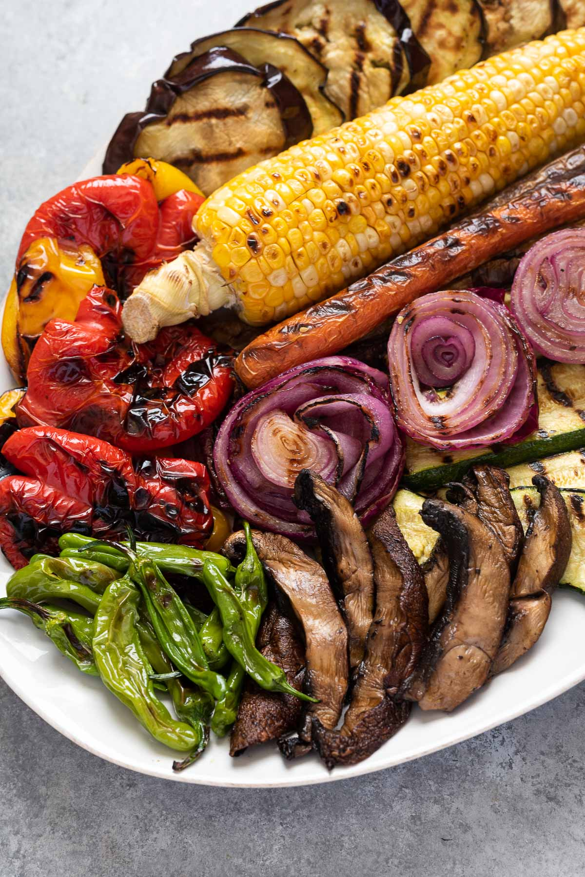 Platter filled with an array of grilled vegetables