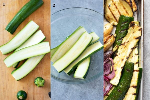 Grilled zucchini collage before and after grilling