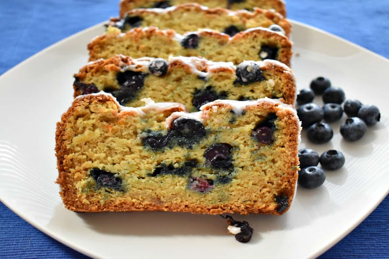 lemon blueberry bread with lemon glaze, lemon blueberry bread, lemon, blueberry, bread