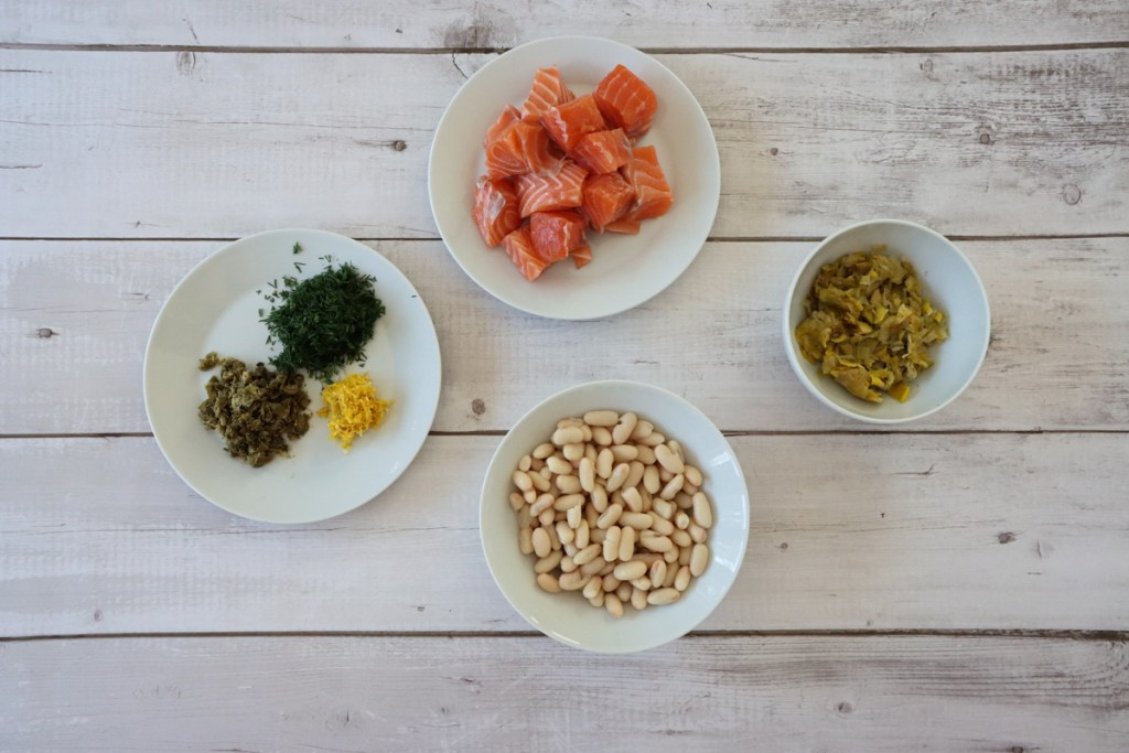 ingredients laid out for spring salmon and bean fishcakes. Recipe from Flavour-Files