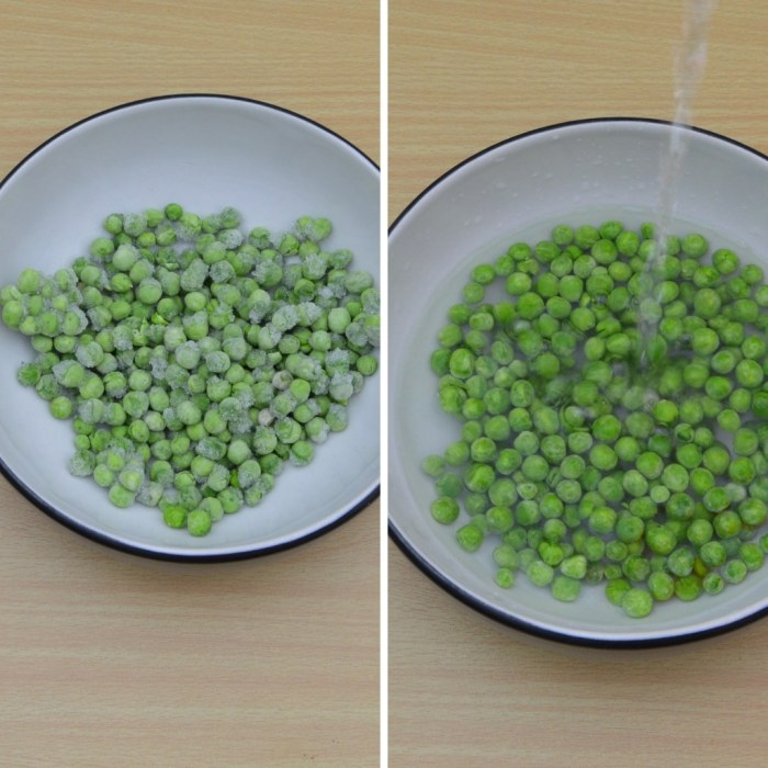 before and after thawing green peas