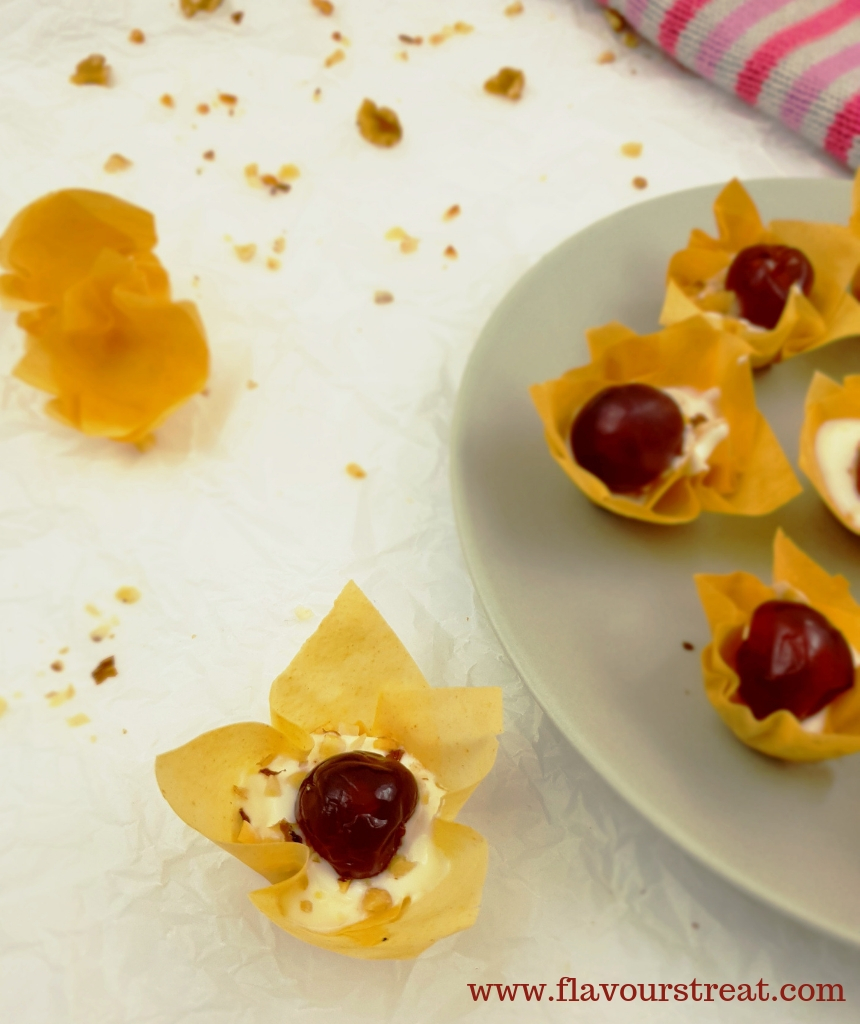 yogurt cherry and nut filled phyllo cup