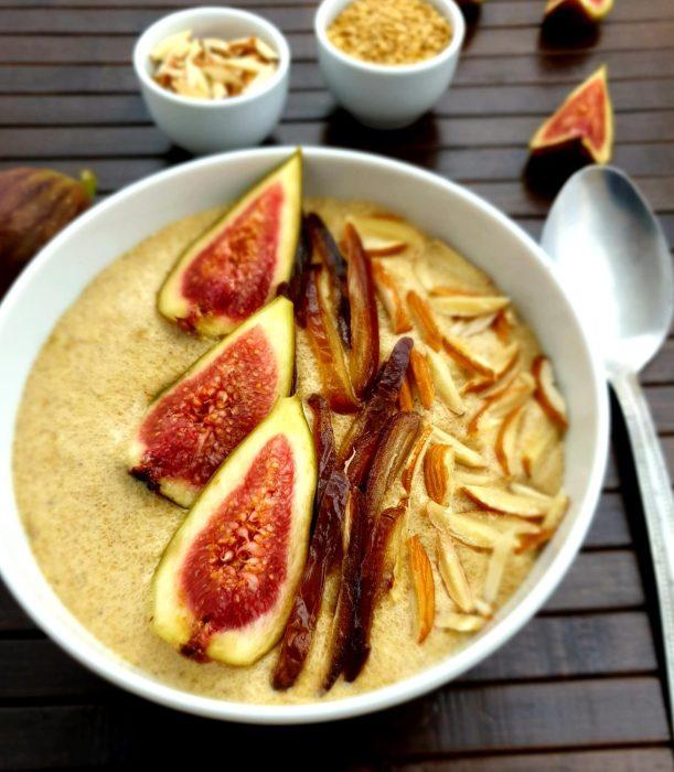 close up shot of flaxseed porridge