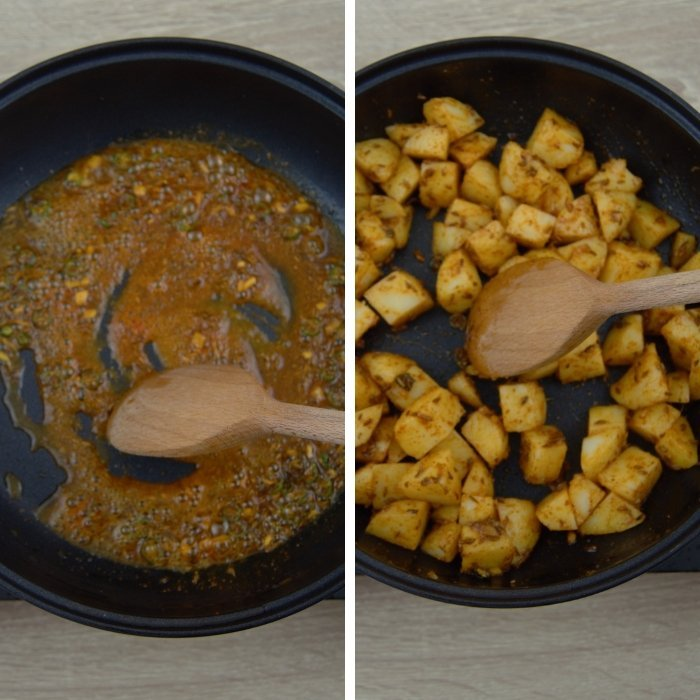 frying spices and potato