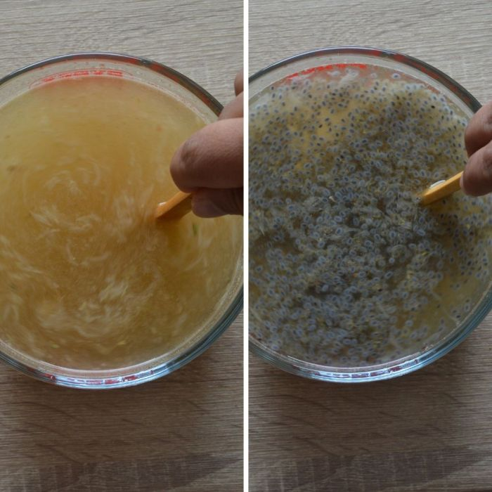 process of making simple lemonade with basil seeds and spices.
