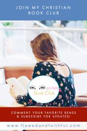 Girl reading a book at a library. Eyes on Him Book Club -- Flawed & Faithful Blog