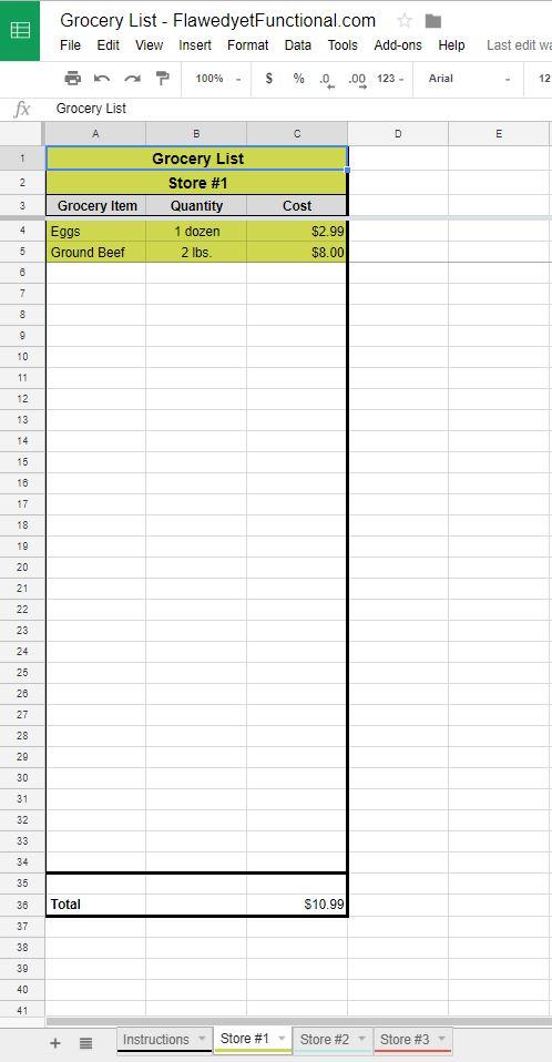 Google Sheet Grocery List