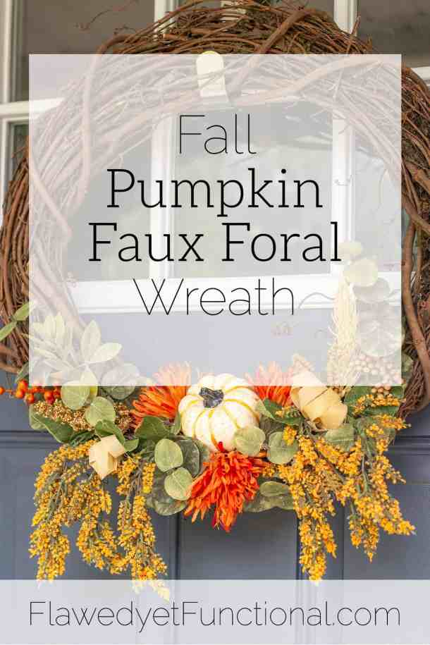 fall pumpkin faux floral wreath