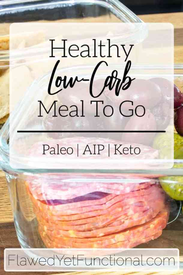 low-carb paleo sack lunch in glass container
