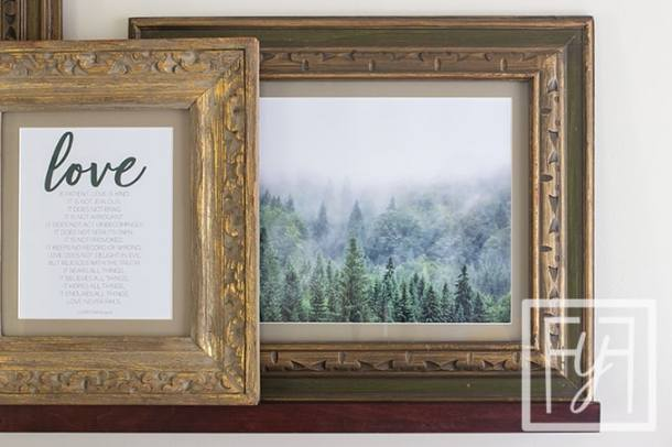 vintage frame with forest art print and brown mat