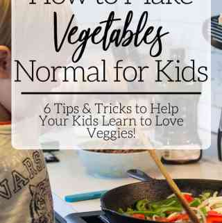 kids stirring vegetables in cast iron pan