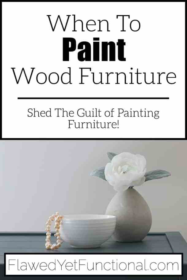 faux flower on paint wood furniture