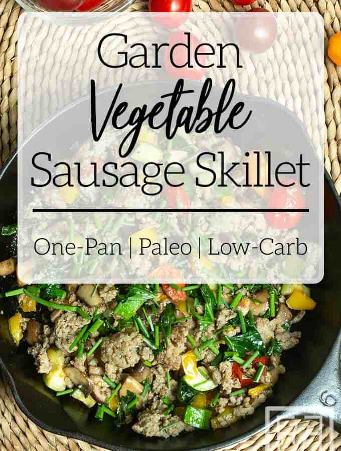 summer vegetable sausage hash in cast iron skillet