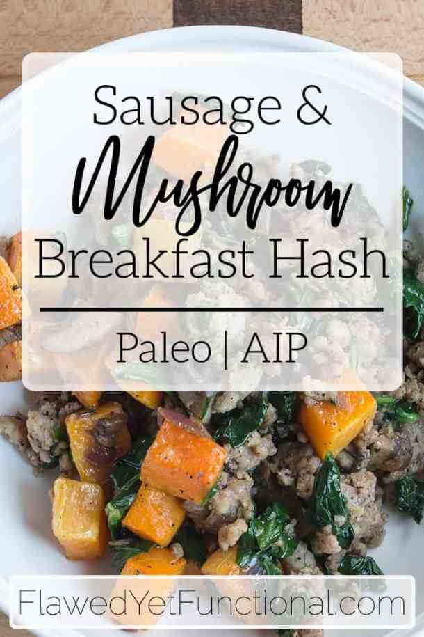 sausage mushroom butternut squash hash in white bowl