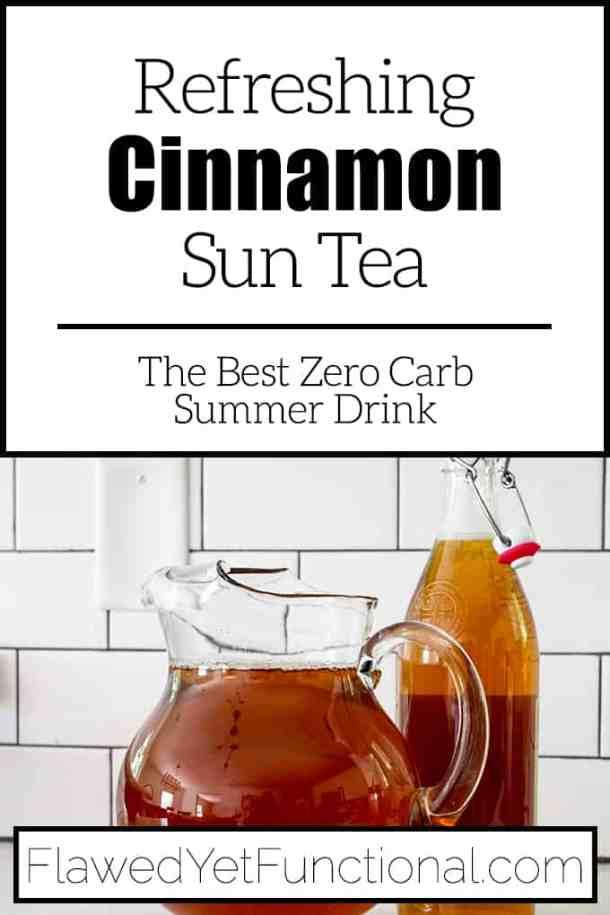 cinnamon spice sun tea in glass pitcher