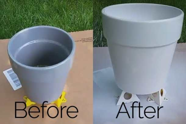 spray paint grey pot to white