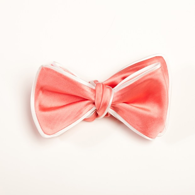 Inspired Knots Satin Pink Bow Tie With White Piping