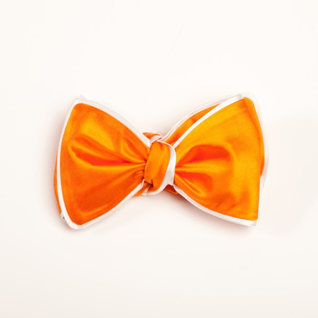 Inspired Knots Satin Orange Bow Tie With White Piping