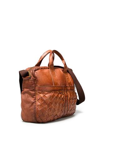 Zara Plaited Leather Briefcase