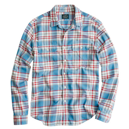 J.Crew Flannel Shirt In Azure Plaid