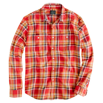 J.Crew Flannel Shirt In Rusted Red Plaid